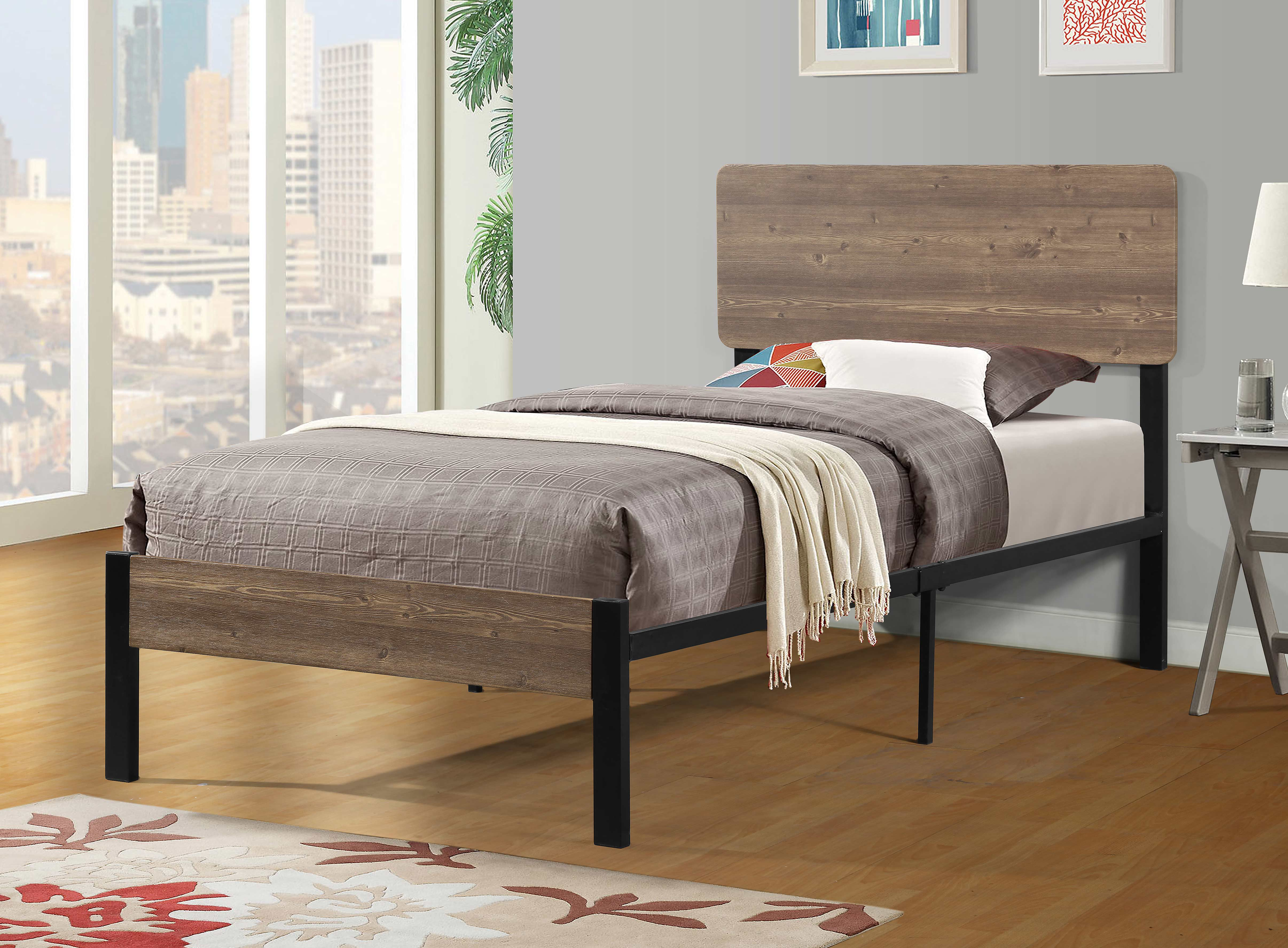 7532 Wooden Headboard Metal Platform Bed Twin 7532 Twin Milton Greens Stars Lowest Price Possible With Best Possible Value