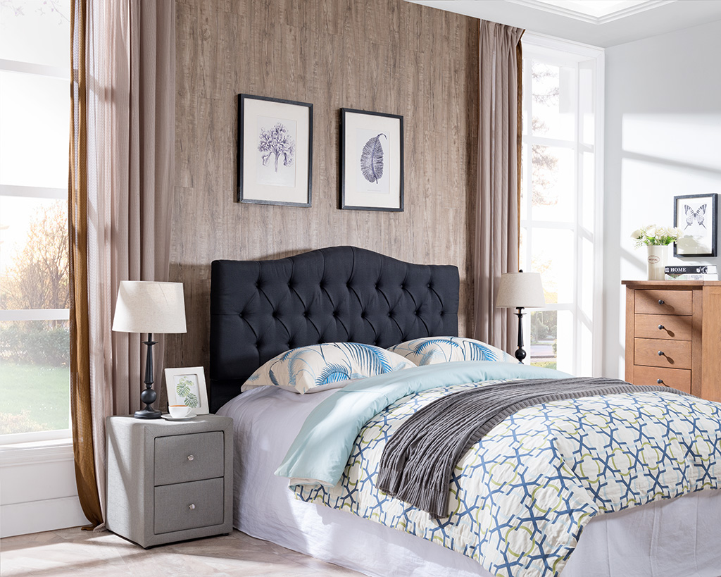 7558 Black Curved Tufted Headboard 7558 F Q Bk Milton Greens Stars Lowest Price Possible With Best Possible Value