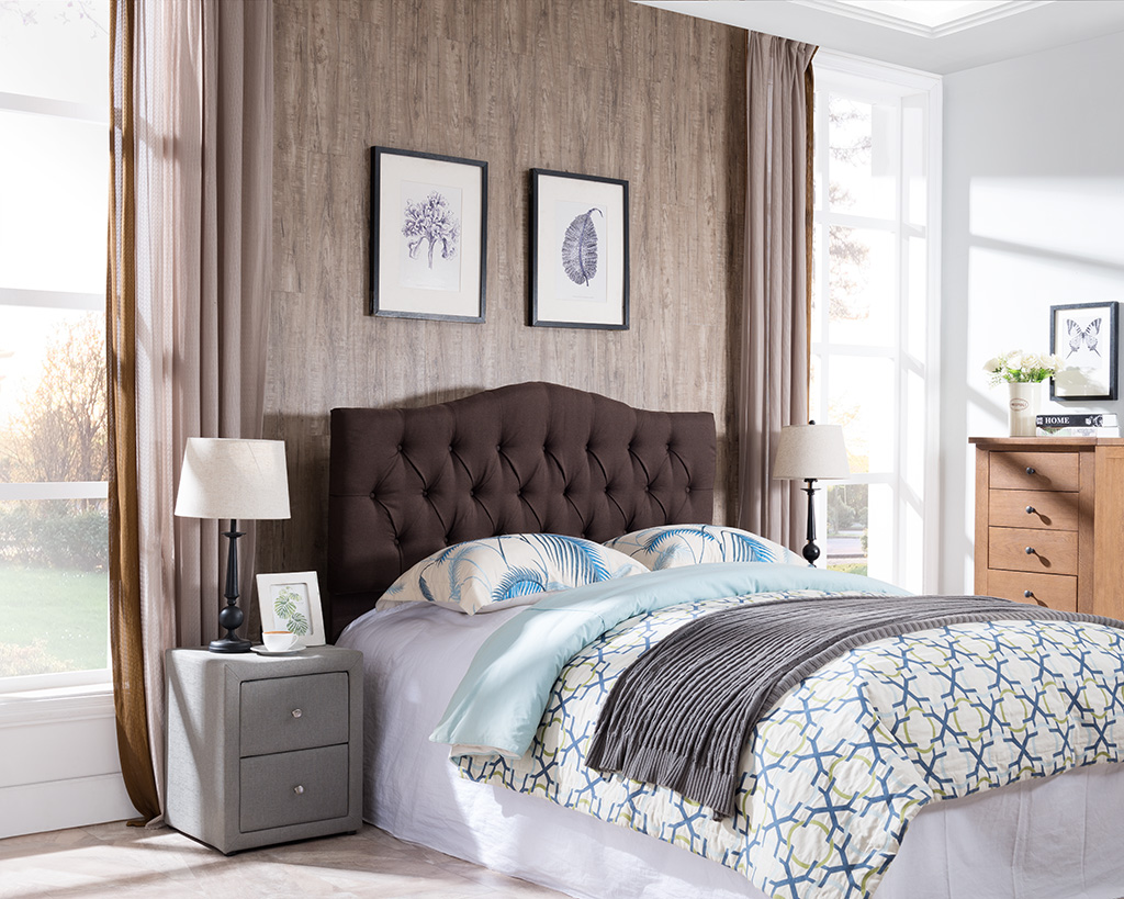 7558 Brown Curved Tufted Headboard 7558 F Q Br Milton Greens Stars Lowest Price Possible With Best Possible Value
