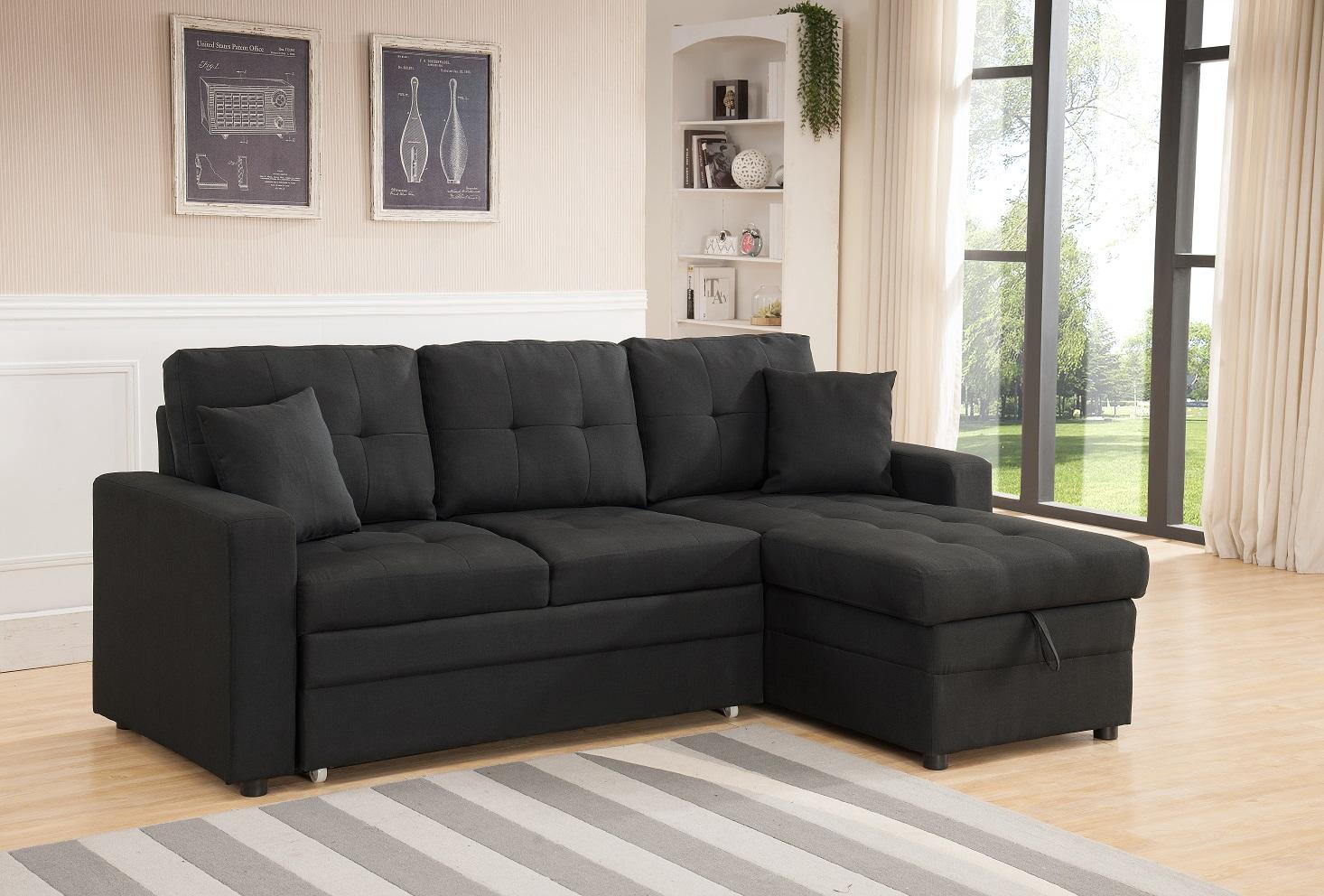 Peachy 8008 Black Linen Pull Out Sectional Sofa 8008 Bk Milton Inzonedesignstudio Interior Chair Design Inzonedesignstudiocom