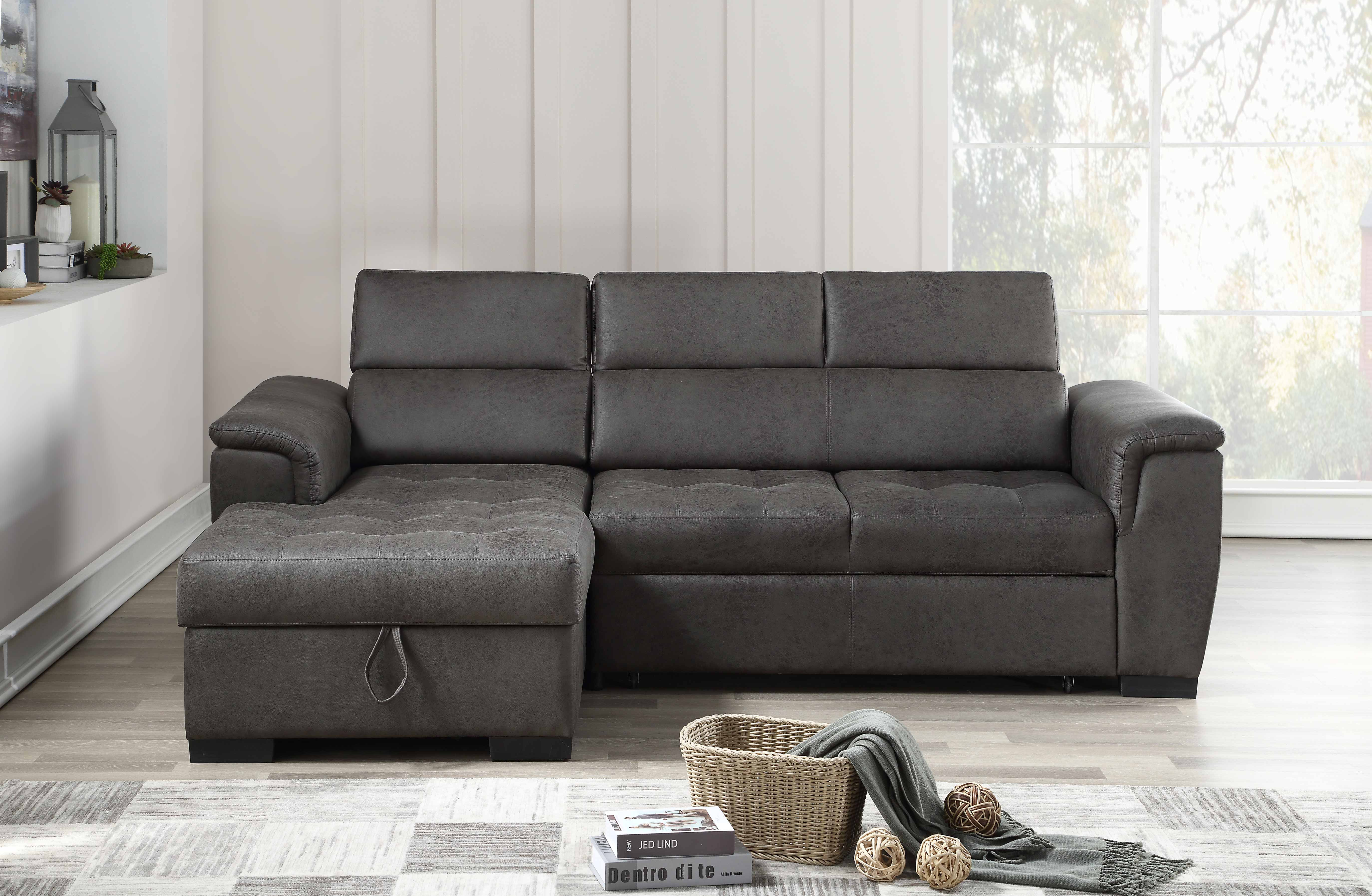 8009 Air Leather Pull Out Sectional Sofa - LEFT [8009 ...