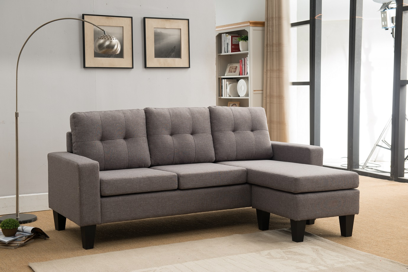 8023 LIGHT GRAY Tufted Back Sectional Sofa [8023-LGR ...