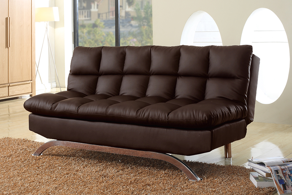 8035 Dark Brown Pu Futon Sofa Bed