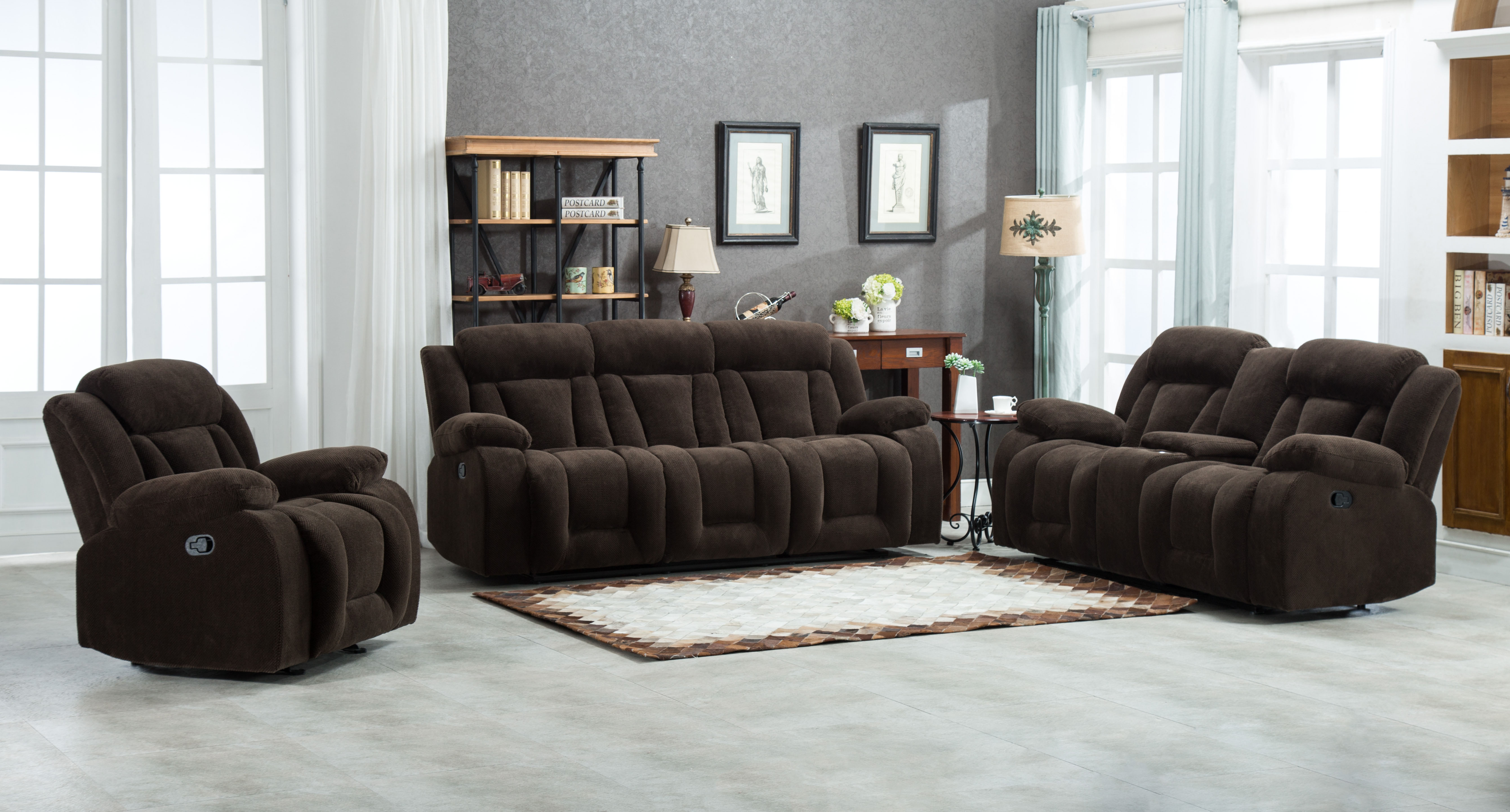 8047 3pc Fabric Living Room Set, Fabric Living Room Sets With Recliner