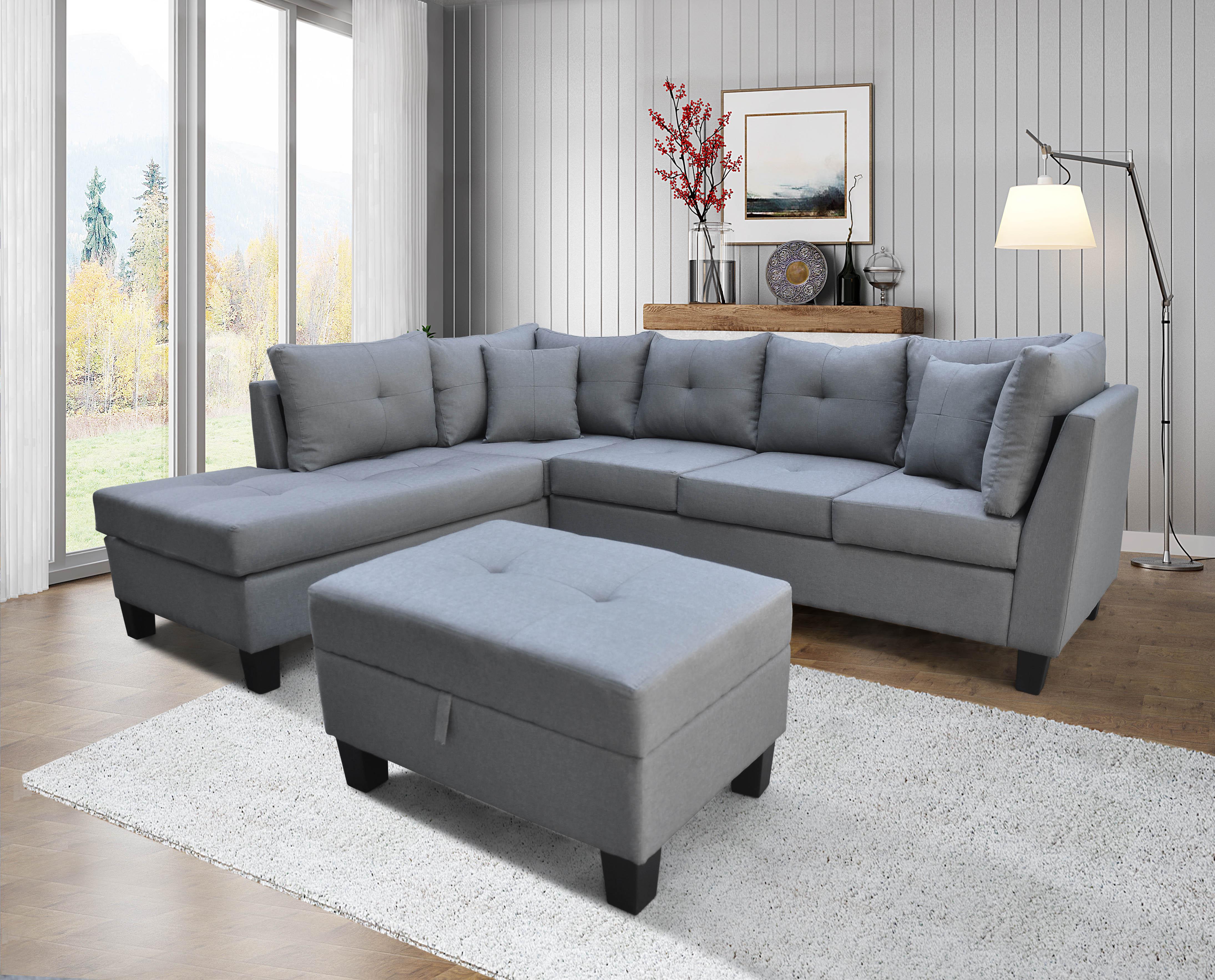 9124 Linen Sectional Sofa Left