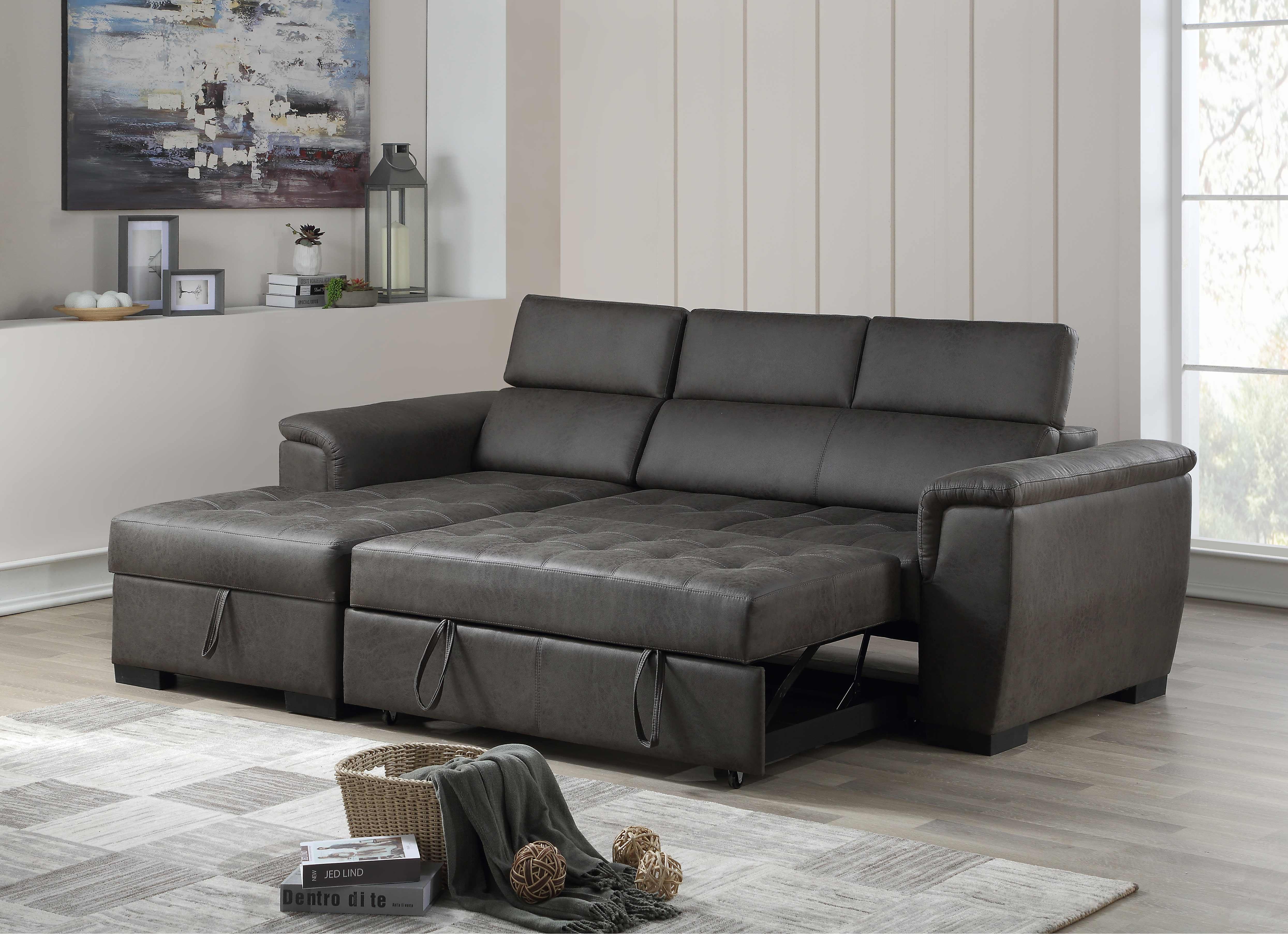 Wondrous 8009 Air Leather Pull Out Sectional Sofa Left 8009 Inzonedesignstudio Interior Chair Design Inzonedesignstudiocom